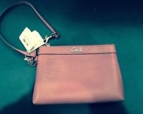 Coach Leather Wristlet - Light Mauve/Pink