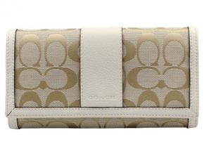 Coach Parker Signature Checkbook Wallet - Light Khaki/Parchment