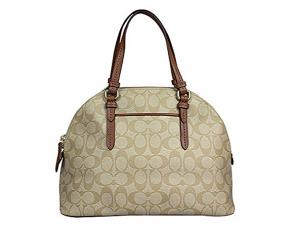 Coach Peyton Signature Domed Satchel - Light Khaki/Saddle