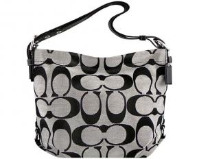 Coach Signature Zip Duffle Shoulder Bag - Black/White