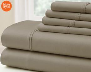 500TC Egyptian Cotton 6-Piece Sheet Set - Queen - Khaki
