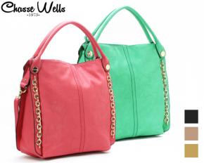 Chasse Wells Cascade De Diamant 2-Handle Shoulder Hobo - Fuchsia