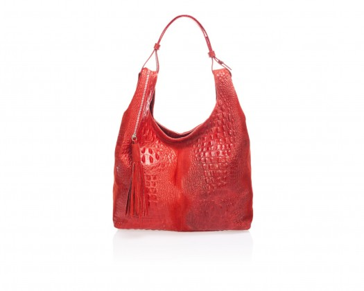 c1d7cd797a chicmarket.com - Massimo Castelli Large Printed Suede Hobo - Red