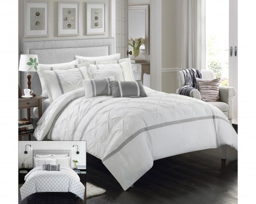 Charmant Chicmarket.com   Chic Home 10 Piece Plymouth Pinch Pleated Geometric Design  Bed In A Bag Comforter Set   Queen   White