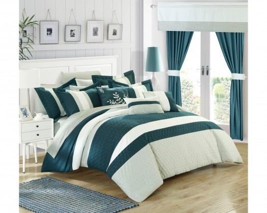 embroidery color block pattern complete bedroom set queen teal