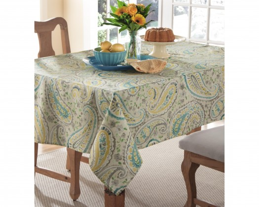 Chicmarket.com   M.Style Frolic Paisley Table Cloth  Lemon   60In X 104In