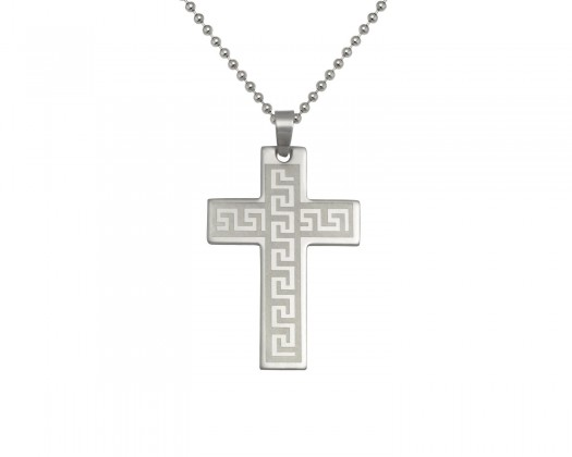 Chicmarket stainless steel mens greek cross pendant mozeypictures Choice Image