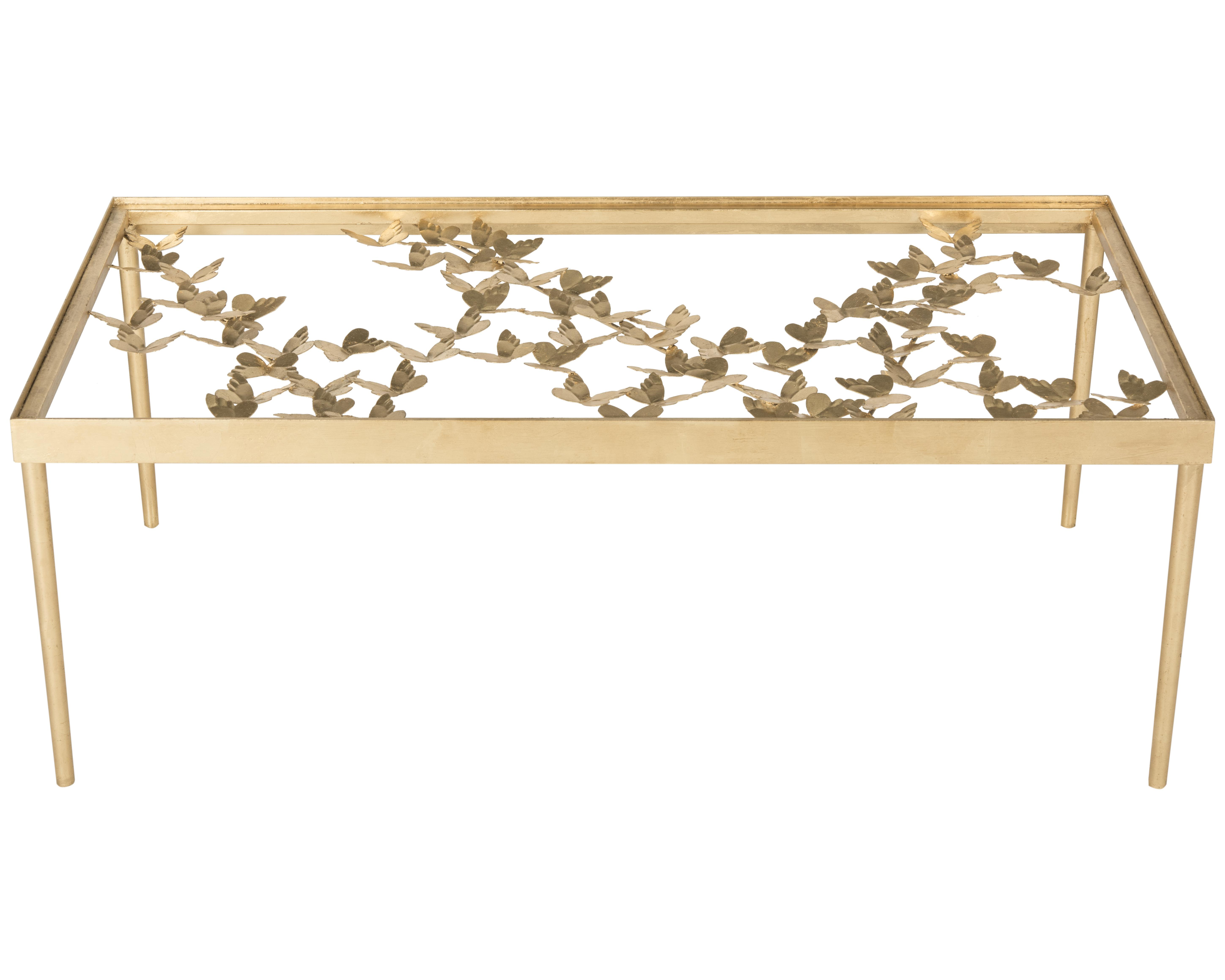 Safavieh Rosalia Butterfly Coffee Table Antique Gold Leaf Ebay