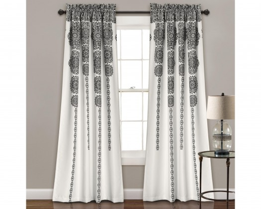 Half Moon Stripe Medallion Room Darkening Window Curtain Set Black