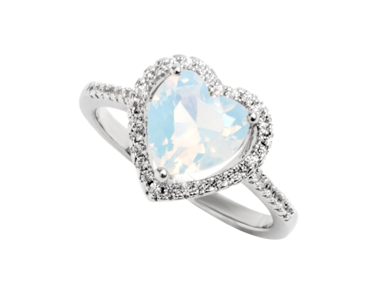 Heart Shaped K White Gold Ring