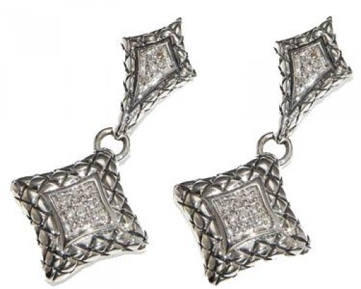 fa1c3e9411662 Scott Kay Ladies' Sterling Silver .14 ctw Diamond Basketweave Drop Earrings