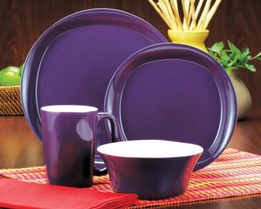 Rachael Ray Round and Square 16-Piece Dinnerware Set - Purple ...