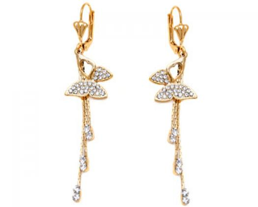 7c0ff41b327 chicmarket.com - Sevil Designs Gold and Crystal Butterfly Drop Earrings