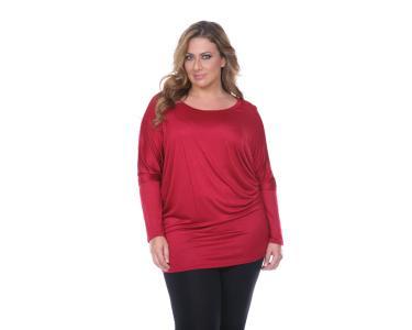 851ecfa8de White Mark Women's Plus Size Bat Sleeve Top/Tunic - Burgundy - 1XL ...