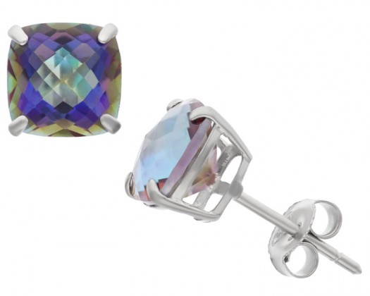 Brooklyn Studios SS 8mm Cushion-Cut Gemstone Earrings - Rainbow Blue Topaz
