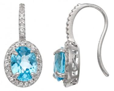 brooklyn studios ss oval cut gemstone fish hook earrings