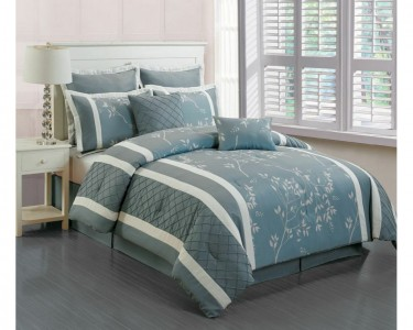 riverbank m f 8pc comforter set queen light blue. Black Bedroom Furniture Sets. Home Design Ideas