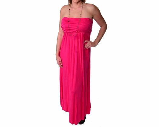 24/7 Comfort Apparel Plus Size Maxi Tube Dress - Hot Pink - 3XL