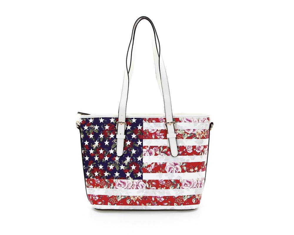 Focus Handbags American Flag Floral Shoulder Bag - White
