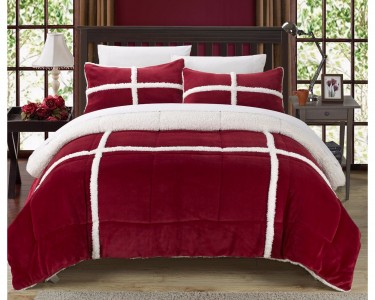 chic home 7pc camille sherpa bed in bag comforter set with w