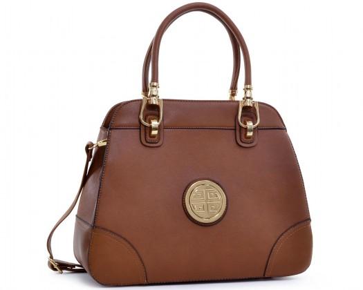 93cd2bb290 chicmarket.com - Dasein Emblem Metal Hinge Handle Shoulder Bag - Coffee