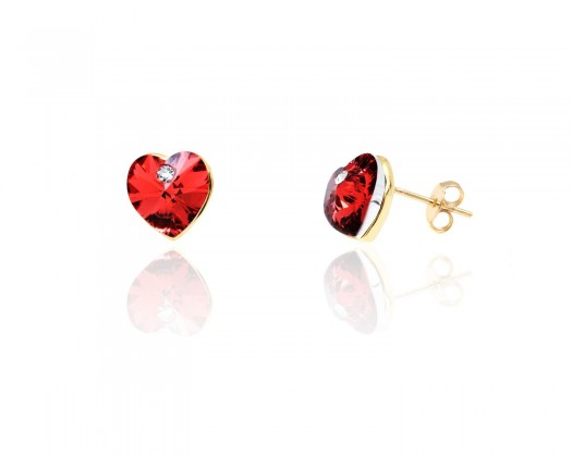 52bc6c45b chicmarket.com - 18K Gold Plated Gold & Red Heart Stud Earrings made with  Swarovski Crystals - Gold / Red