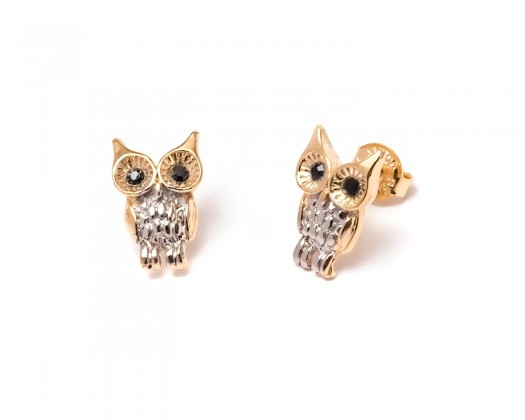 151c4dcdc chicmarket.com - 18K Gold Plated Gold and Silver Owl Stud Earrings made  with Swarovski Crystals