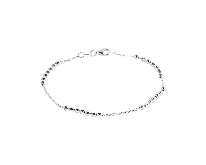 Sevil 925 Sterling Silver Diamond-Cut Bead & Anchor Chain Bracelet
