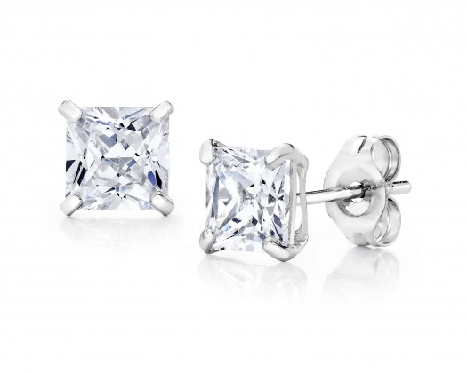 2f81817f7 chicmarket.com - 14K Solid White Gold 4Mm Princess-Cut Stud Earrings made  with Swarovski Crystals