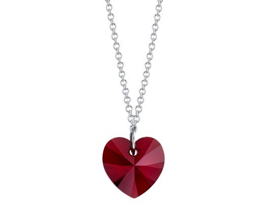 6513ea13a chicmarket.com - Sterling Silver Ruby Red Heart Necklace Made With Swarovski  Crystals