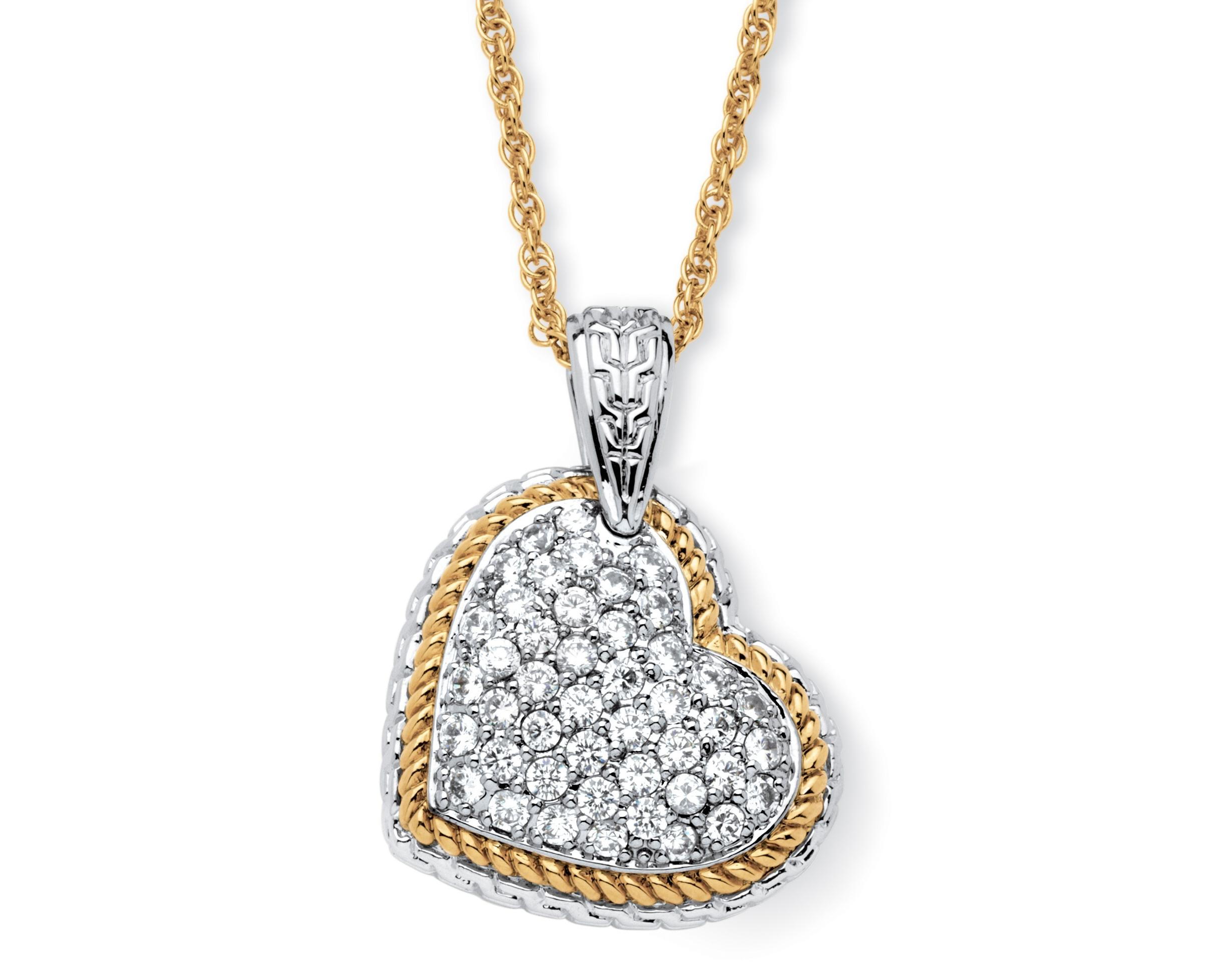 PalmBeach Jewelry 18k Gold-Plated Cubic Zirconia Two-Tone Puffed Heart Necklace