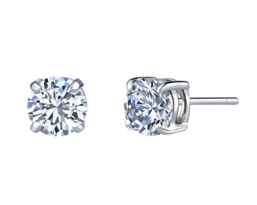 fec6d4213 chicmarket.com - 14K Solid White Gold 6mm Round Stud Earrings made with Swarovski  Crystals