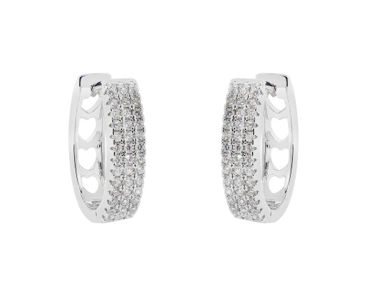 6de7dabb02edd 18K White Gold Plated Oval 3-Row Pave Huggie Earrings Made With Swarovski  Crystals