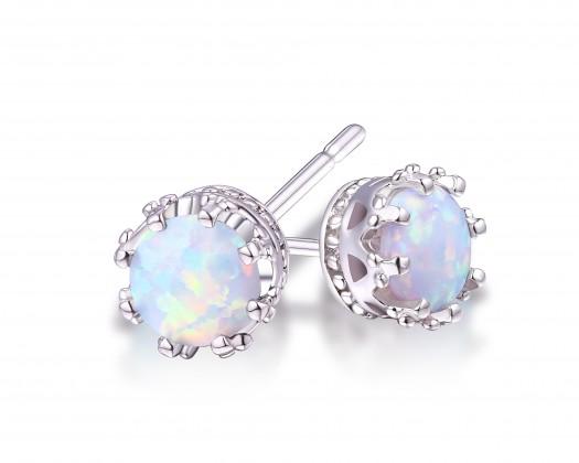 fdec17cb57c28 18K White Gold Plated White Opal 7mm Stud Earrings