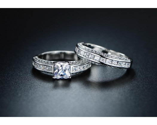 0d3586769 chicmarket.com - 18K White Gold Plated Cubic Zirconia Princess-Cut Double  Band Engagement Ring Set - Size 10