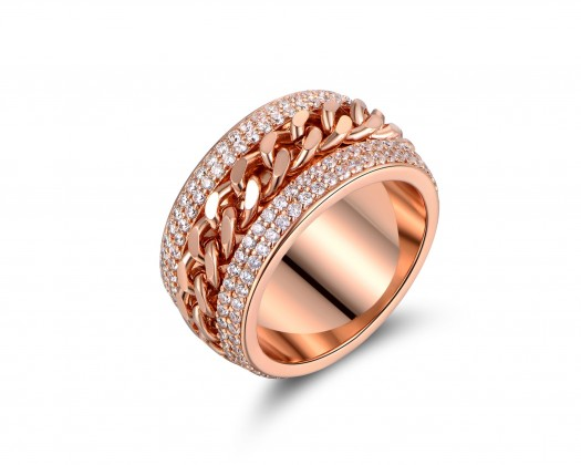 effe0ee92 chicmarket.com - 18K Gold Plated Rose Gold Link Statement Ring Made With  Swarovski Crystals - Size 5