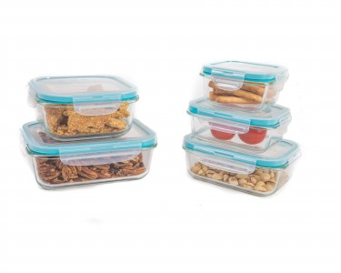 10 Piece Glass Storage Container Set With Airtight Locking Lids    QuiBids.com