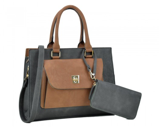 cea29f9d9a chicmarket.com - DASEIN Women s Faux Leather Satchel with Exterior Front  Twist Lock Pocket and Matching Wallet -Dark Gray Coffee